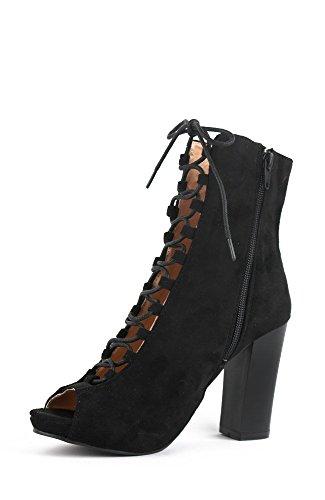Chase and Chloe BENJAMIN-2 Women's Platform Lace Up Gladiator Block Heel Sandal