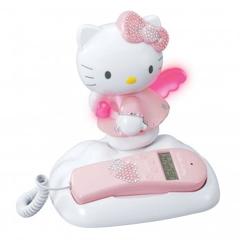Telephone Kitty Hello (HELLO KITTY KT2012 Caller ID and Memory Telephone with Bling Jewels)