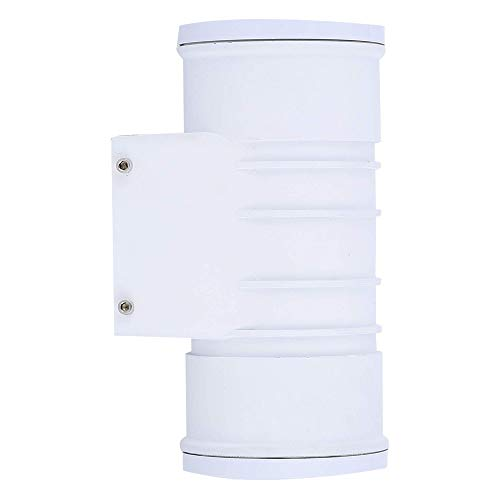 Zip-LED Up Down Cylinder Wall Light in White Vandal Resistant Polycarbonate Plastic, 12W 4000K Natural White 1200 Lumen, Non-Dimmable, Waterproof ()