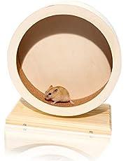 LMYKH Koło dla chomika drewniane, bezgłośne koło z antypoślizgową tarczą dla syryjskich chomików, szczurów, myszy, szyli, małych zwierząt domowych (20 cm)