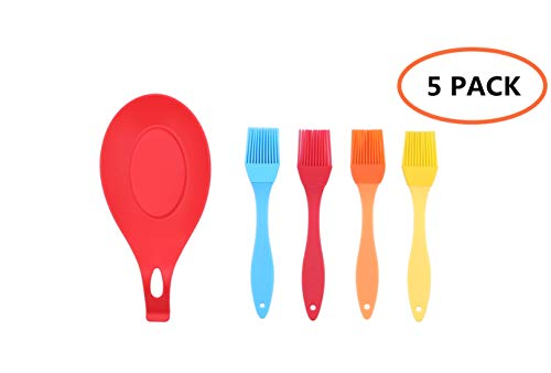 Silicone Basting Brush Pastry Oil Brush with 1 Rest for BBQ Baster Cake Barbecue Utensil Grilling Solid Core and Hygienic Coating Grilling Marinating Heat Resistant Kitchen Utensils Gadgets