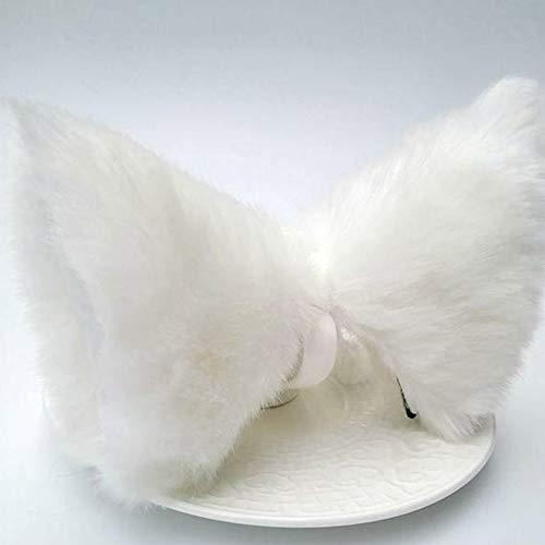 (DEH Cosplay Party Cat Fox Long Fur Ears Costume Hair Clip Halloween Orecchiette - White)
