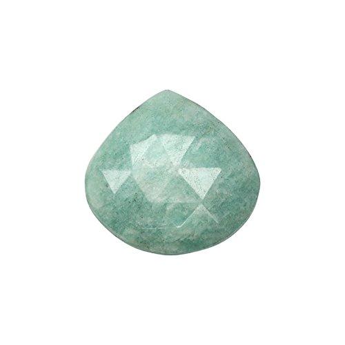 Amazonite Gemstone Beads, Heart Briolette 16-22mm, 2 Pieces, Aqua Green -