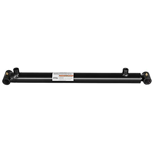 Mophorn Hydraulic Cylinder 2.5 Inch Bore 18 Inch Stroke Double Acting Hydraulic Cylinder 2.5x18 Black Hydraulic Cylinder Welded Double Acting Cross Tube