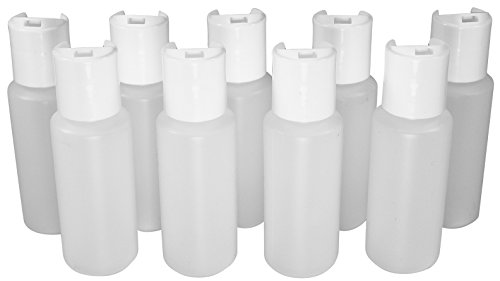(Pinnacle Mercantile 2 Oz Empty Plastic Squeeze Bottles with Disc Top Flip Cap Set of 9 Travel Size)
