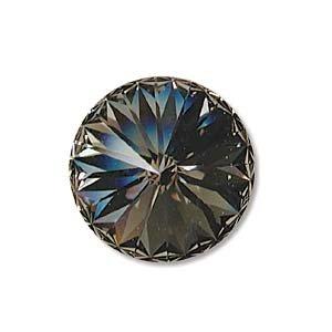 Swarovski Crystal, #1122 Rivoli Fancy Stones 14mm, 2 Pieces, Black Diamond Sf