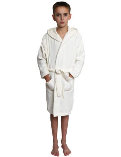TowelSelections Big Boys' Turkish Cotton Hooded Kids Terry Bathrobe Cover-up Size 10 Ivory