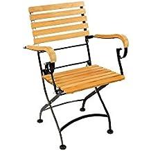 HiTeak Furniture Bistro Low Teak Armchairs With Iron Frame