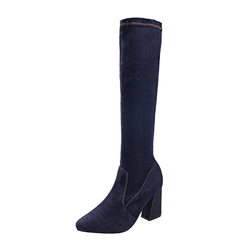 Cenglings Women Denim Over The Knee Boots Zipper Sexy High Thick Heels Women Party Shoes Slim Thigh Boots