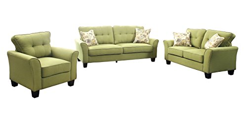 HOMES: Inside + Out IDF-6266GR-3PC Preston 3 Piece Transitional Sofa Set
