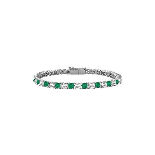 May Birthstone Emerald and Diamond Princess Cut Tennis Bracelet in Platinum 2 CT TGW