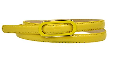 Fashion Women's Candy Solid color PU leather Covered Buckle Patent Skinny Belt Thin Skinny Waistband Yellow