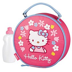 Sanrio Hello Kitty Round Shape Pink Color Soft Insulated Lunch Bag/Box with Water Bottle