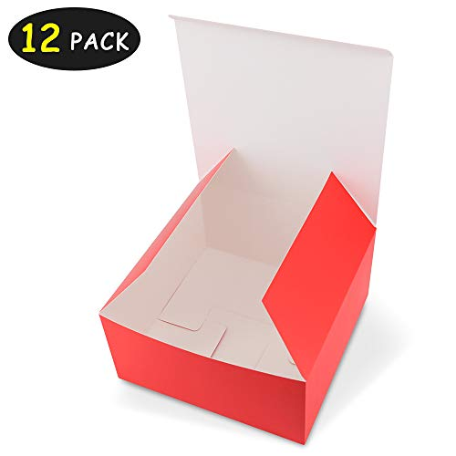 HAISEN Red Gift Boxes 12 Pack 8x8x4 inches, Paper Gift Boxes with Lids for Gifts, Crafting, Cupcake Boxes Bridesmaid Proposal
