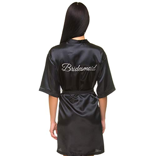 INeedThisRobe Satin Embroidered Wedding Robes for Bride, Bridesmaid, Maid of Honor, Flower Girl (Black - Bridesmaid in Silver, L-XL)]()