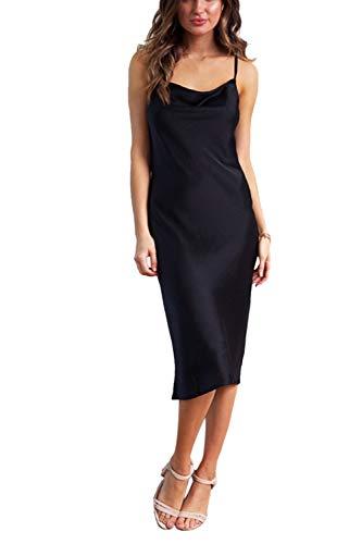 (Linsery Women's Elegant Satin Spaghetti Strap Low Neck Polka Dot Cocktail Midi Dress Black S)
