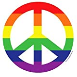 Peace Sign in Rainbow Stripes Round Sticker 4-inch Gay