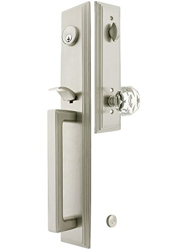 Melrose Style Tubular Handleset in Satin Nickel with Diamond Knobs and 2 3/4