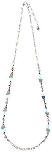 Wearable Art By Roman Glass Bead Chain Necklace One Size Aqua blue/silver tone - Roman Glass Beads