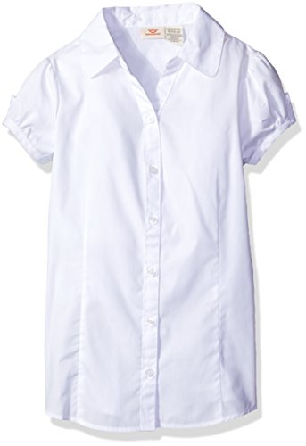 Blouse Sleeve Short Girls (Dockers Big Girls' Uniform Y-Neck Blouse, White, Large/12/14)