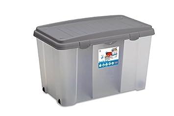 XXL Caja de plástico resistente (PP) con 120 litros de capacidad, dos paneles