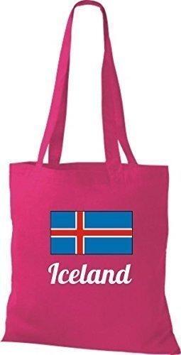 shirtinstyle Tela Bolsa Algodón länderjute Iceland island - fucsia, 38 cm x 42 cm Fucsia