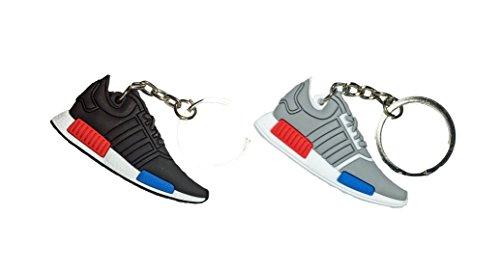 Conjunto de 2Adidas NMD Negro & Gris Lush 2d Sneaker Llavero