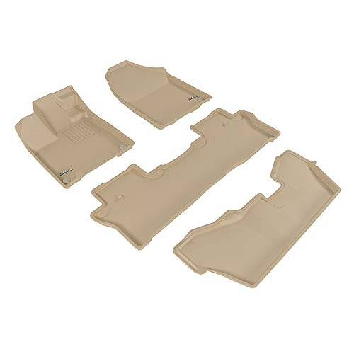 (Floor Mats (Beige 3 Rows) for 2013-2019 Toyota Land Cruiser 200 All Weather Liner)
