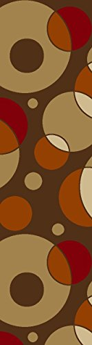 Rubber Collection Circles Brown Roll Runner 22 in or 26 in Wide x Your Length Choice Slip Resistant Rubber Back Area Rugs and Runners (1008) (Brown, 12 ft x 26 in)