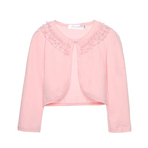 (Girls Long Sleeve Bolero Jackets Short Cardigan Shrug Lace Flower Bead Shawl Pink 6-7T)