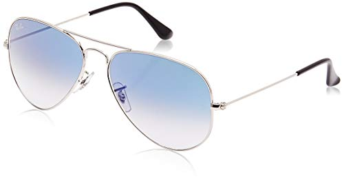 Ray-Ban RB3025 Aviator Sunglasses, Silver/Blue Gradient, 55 mm (Ray-ban Rb3025 55 Aviator)