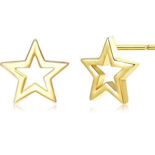 925 Sterling Silver Gold Star Stud Earrings