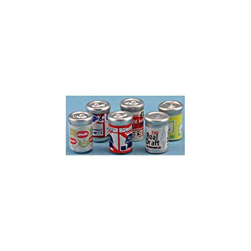 Dollhouse Miniature Beer Cans, 6pk