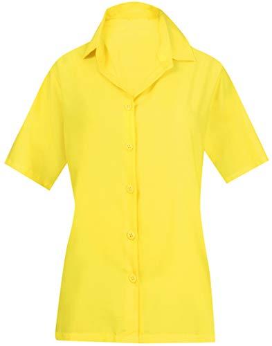(LA LEELA Everyday Essentials Women's Hawaiian Shirt Solid Plain Yellow_X534)
