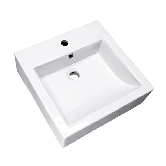 WinZo WZ6087 Square Bathroom Vanity Sink,White Porcelain Ceramic Vessel Art Basin - ◇Sleek European inspired modern contemporary design with overflow in high quality smooth ceramic ensures your durable & scratch-resistant lifetime use. ◇Nano-self-cleaning glaze, Above the counter installation and maintaining clean, gently wipe to restore light. ◇1280 ° high temperature firing, porcelain high density, low water absorption, no easy to scratch, durable use. - bathroom-vanities, bathroom-fixtures-hardware, bathroom - 312277eyOEL. SS570  -