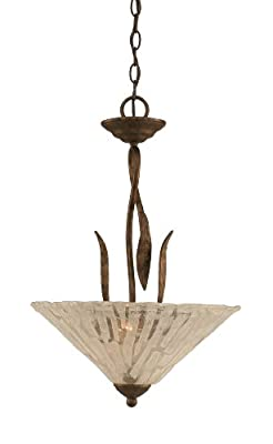 Toltec Lighting 214-BRZ-719 Leaf Three-Bulb Uplight Pendant Bronze Finish with Italian Ice Glass Shade, 16-Inch