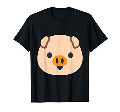 Emoji Pink Pig Porky Head Piglet Animal Emoticon Texting T-Shirt