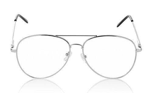 SunnyPro Aviator Eyeglasses Silver Clear Lens For Women And Men UV - Glasses Aviator Silver
