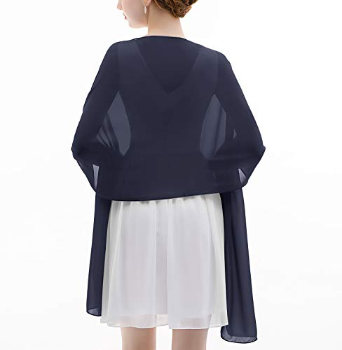 - Shawl Wrap Soft Chiffon Scarve Scarf For Evening Party Dresses Wedding Stole(Navy)