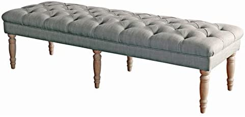 HomePop Layla Button Tufted Bench with Decorative Wood Legs, Gray