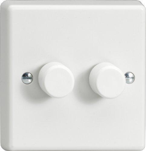 Varilight HQ83W Standard-Dimmschalter, 2-Gang, 1- oder 2-Weg, 2x400 W, weiß es Plastik