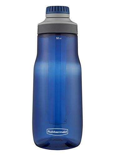 Rubbermaid Leak-Proof Chug Water Bottle with Blue Ice Stick, 32 oz, Nautical Blue
