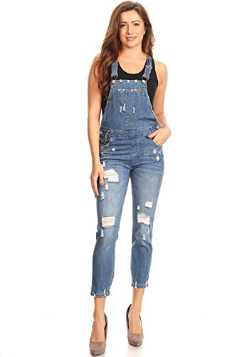 Instar Mode Women's Ripped Denim Bib Overall Jumpsuit Skinny Distressed Long Rompers Medium Denim S