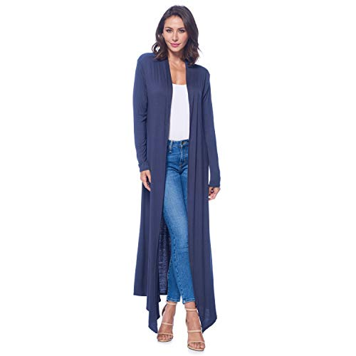 Isaac Liev Women's Super Long Flowy Floor Length Maxi Cardigan Duster (Large, Slate -