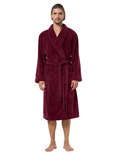 SIORO Fleece Bathrobe Mens Plush Soft Kimono Robe Comfort Sleepwear Winter Warm Lounge Nightgown Burgundy M by SIORO