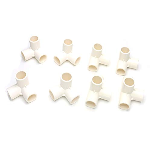 Castuvy PVC three-dimensional three-way/four-way kit, DIY Shoe Cabinet Right angle Shelf Plastic Water Supply Pipe Fittings, Furniture Grade, Suitable for T tube with outer diameter 1