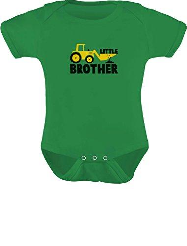 (TeeStars - Little Brother Tractor Loving Boys Baby Bodysuit 6M Green)