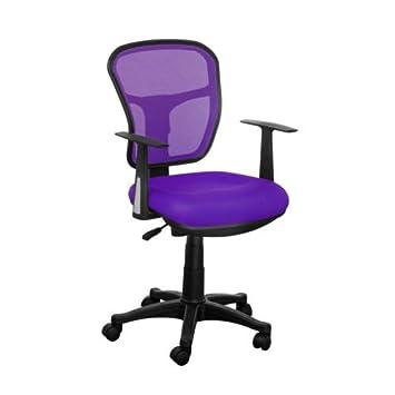 purple swivel desk computer colour fabric seating mesh back rest