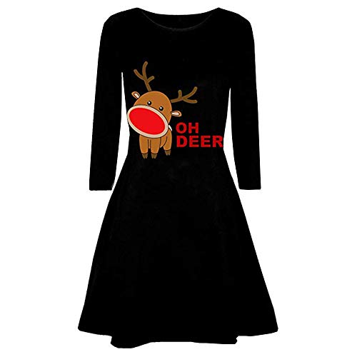 2018Women's Christmas Red Bow Evening Prom Costume Swing Dress,Girl Oversize Pullover Mini Dress Outwear S-XXL (ZA_Black, M) ()