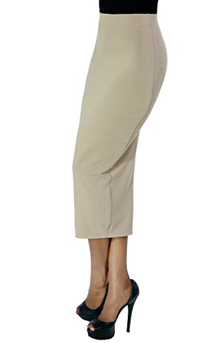 Women Fashion Sexy Stretch High Waist Must Have Solid Basic Long Pencil Skirt Medium Beige-3368 (Pencil Skirt Fur)